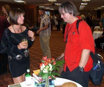 Cheryl Ducoin and Bruce Sterling at the Friday night autographing at Nebula Awards 2008