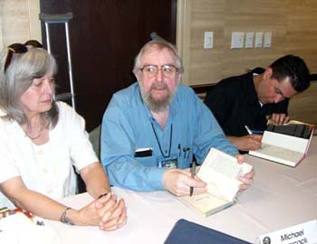 Michael Moorcock and John Picacio at the Friday night autographing at Nebula Awards 2008