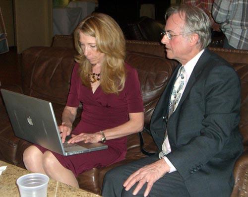 Robin Elizabeth Cornwell and Richard Dawkins working on his presentation