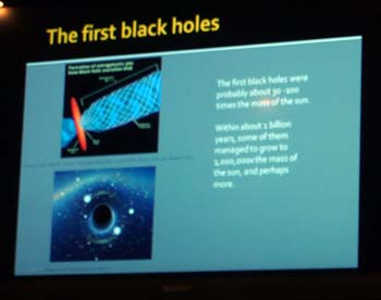 The first black holes -- a slide from Center For Inquiry Austin lecture / discussion on cosmology