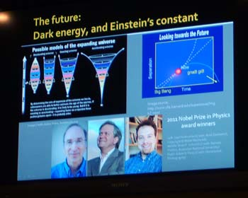 The future, dark energy, and Einstein's constant -- a slide from Center For Inquiry Austin lecture / discussion on cosmology