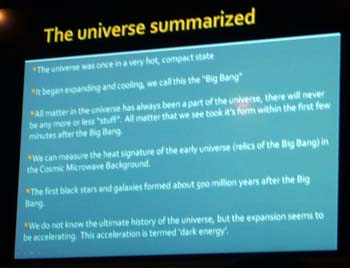 The universe summarized -- a slide from Center For Inquiry Austin lecture / discussion on cosmology