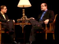 CIMG0970 Evan Smith (left) interviewing Salman Rushdie at the Texas Book Festival 2005