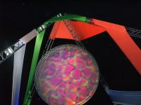 """CIMG6028 This """"kaleidoscope"""", at the top of a decorative structure at Flipside, changed patterns in time with the music."""