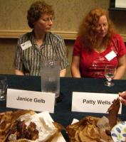 CIMG6820 Janice Gelb and Patty Wells, and barbeque that they shared with the audience at Con Disaster Stories panel
