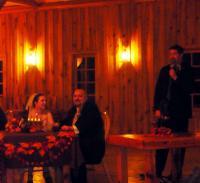 P1110899 Beth, Matt, and Matt's brother Brad making a toast
