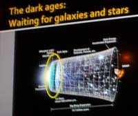 P1120014 The dark ages: waiting for galaxies and stars - a slide from Center For Inquiry Austin cosmology lecture