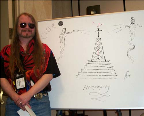 P518 Cat Conrad and his hemomancy drawing on the worldbuilding planet at ArmadilloCon 2004