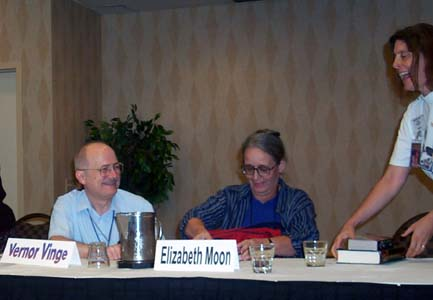 Vernor Vinge and Elizabeth Moon sign books at ArmadilloCon 2003