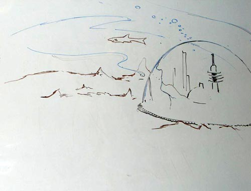 The submerged city under a dome of a force field