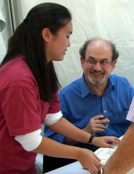 Salman Rushdie signing books at the Texas Book Festival 2005